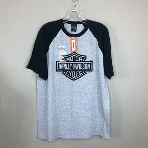 Harley Davidson Flocked Short Sleeve Gray/Blk T